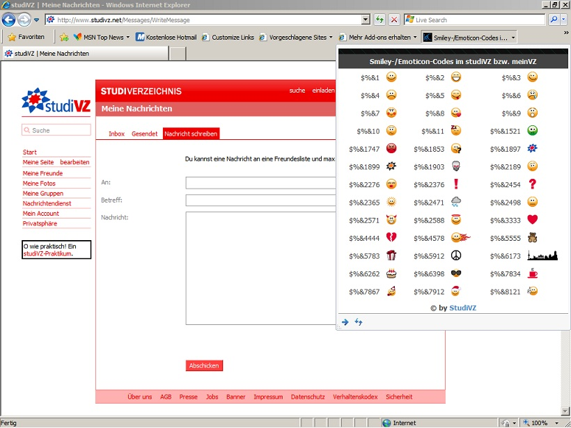 StudiVZ-Codes als Webslice