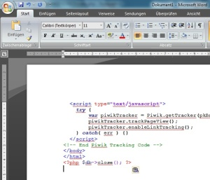 MS Word: highlighted source code
