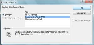 MS Powerpoint: formatierten Text einfügen