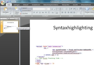 MS Powerpoint: Syntaxhighlighting
